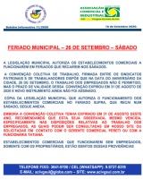 FERIADO DO DIA 26 DE SETEMBRO